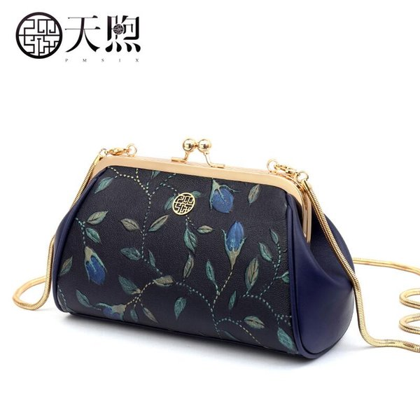 2017 new pmsix superior cowhide fashion embossed chain leather clutch bag women leather shoulder women's bag