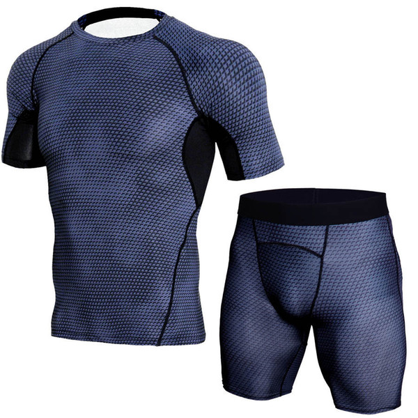 YANQIN Men's Sports Running Set Compression Shirt+Pants Skin Tight Short Sleeve Quick Dry Fitness Clothes Training Exercise Sets
