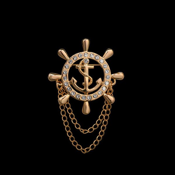 Golden Rudder Anchor Brooch Mens Suit Boutonniere Badge Korean Brooches for Men Lapel Pin Women Broches Chain Christmas Gift