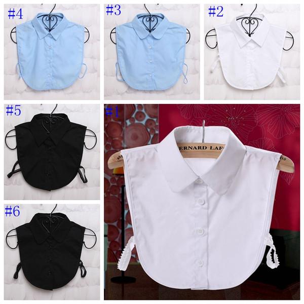 Damen Frauen Erwachsene Abnehmbare Revers Shirt Gefälschte Kragen Mode Einfarbig Falsche Bluse Krawatte Kleidung Zubehör MMA722