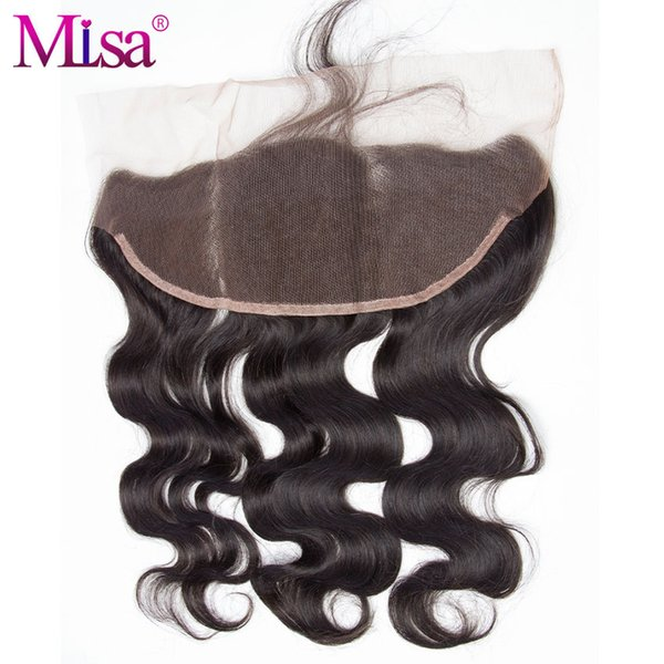13x4 Ear to Ear Pre Plucked Lace Frontal Closure Bleached Knots with Baby Hair Mi Lisa Remy Human Hair Body Wave Natural Color