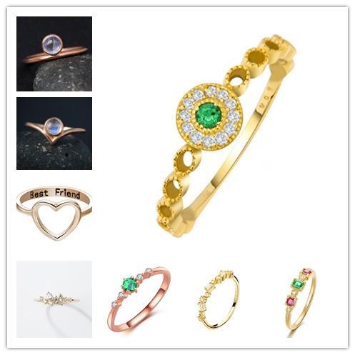 7 estilos coração do diamante do anel do deserto exótico anel de esmeralda embutidos padrão oco moda anel temperamento requintado personalidade accessori