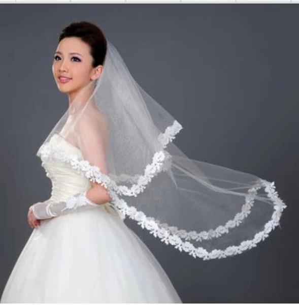 2018 Hot Sale Cheap Short Wedding Veil White Applique Elbow Length Bride Veil Free Shipping