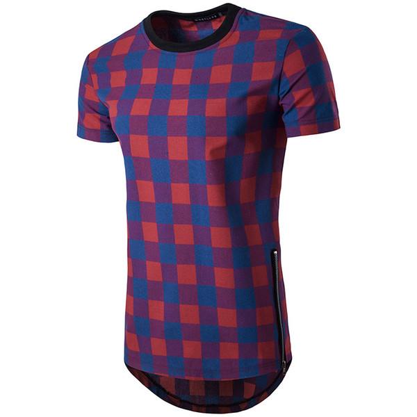 Erkek High Street tişörtlü Kırmızı ekose Altın yan fermuar hip hop kısa kollu T gömlek tee yağma Tyga Tarzı giyim