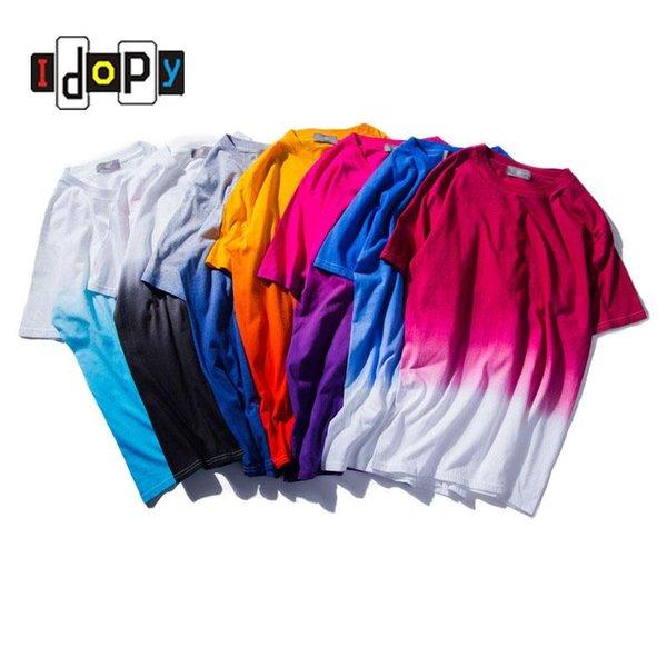 Wholesale- 2016 New Unisex Harajuku Urban Clothing T-shirts Tie Dye Colored Gradual Tshirt Funny T Shirt 100% Cotton Tees For Men and Women
