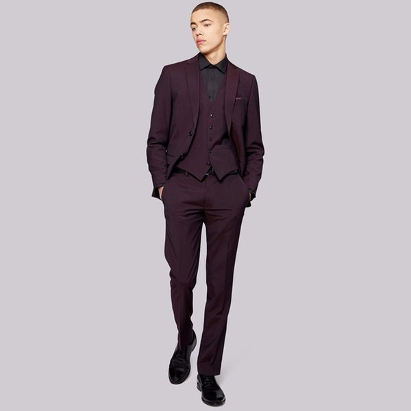 Custom Made Hot Sale Mens Three Pieces Suit for Wedding Two Button Slim Fit Bridegroom(Pants+Jacket+Vest) Notched Lapel Prom Tuxedos