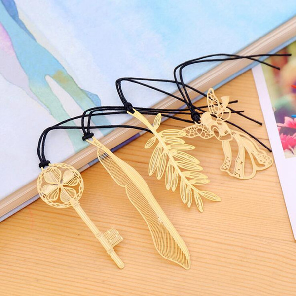 best selling Golden bookmarks with card Metal book mark Paper Clip Leaf shape book markers lovely reading helper Creative key shape bookmark