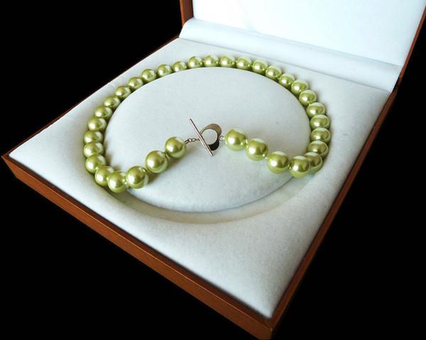 Raro Enorme 12mm Genuino Mar del Sur Manzana Verde Concha Collar de Perlas Corchete Corazón 18 ''