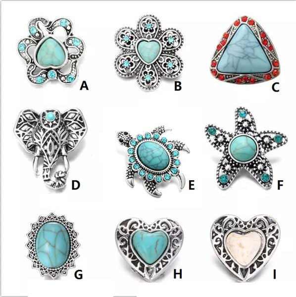 NOOSA Tortoise Ginger Snap Chunks Turquoise Stone Starfish 18MM Snap Buttons DIY Snap Bracelet Jewelry Gift