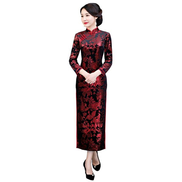 Shanghai Story New Arrival Long Sleeve Chinese Traditional Dress Chinese Oriental dress Long Cheongsam Velvet Qipao Dress for woman