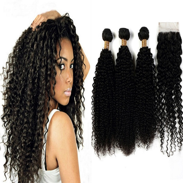 Kinky Curly Brazilian Virgin Hair Wefts 3 Bundles with a Free Part Lace Closure 100% Human Hair Extensions Natural Color Tight Double Weft