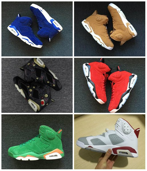 6s Gatorade Green Suede UNC Blue Golden Harvest Black cat Carmine Mens Basketball Shoes WithBox Size 7.5-13 Athletic Sport Sneakers
