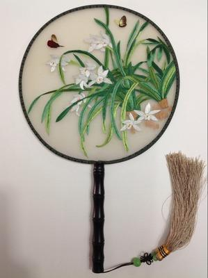 Full Handmade Double Embroidery Round Fan Handle Natural Mulberry Silk Decorative Fan Personalized Chinese Hand Fans for Wedding Gift