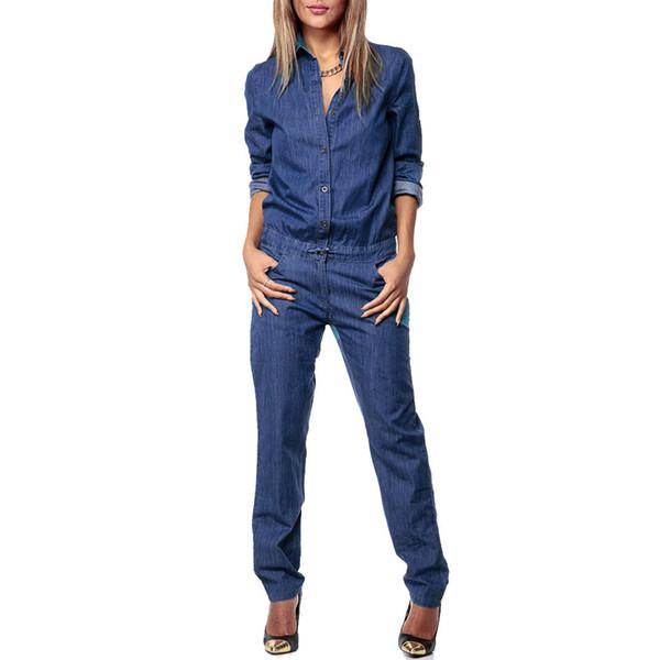 Bohoartist Women Denim Jumpsuit Blue Autumn Long Sleeve Overalls Female Long Jumpsuits Loose Casual Plus Size Jean Jumpsuit