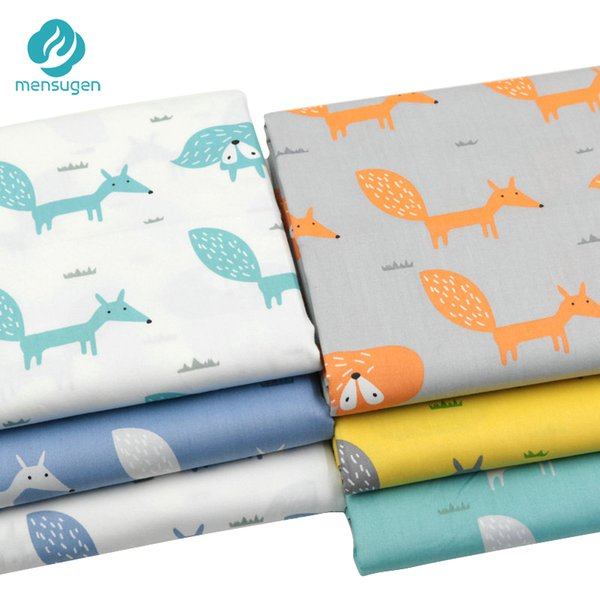 Mensugen Cartoon Fox 100% Twill Cotton Fabric by Meters for Patchwork Quilting Baby Bedding Sewing Cloth Material