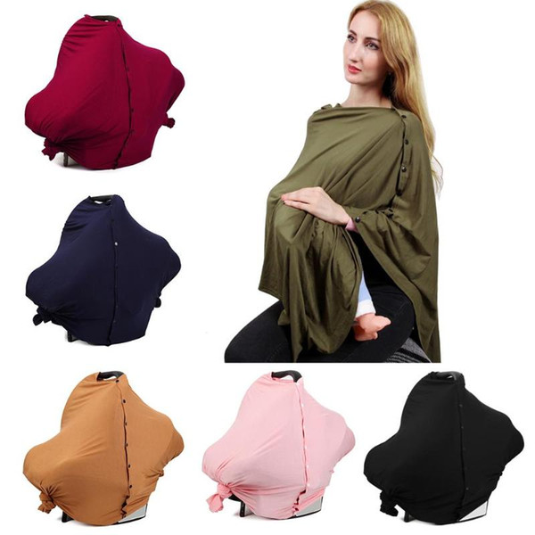 Breathable Nursing Cover Scarf for Mum Multifunctional Breastfeeding Shawl Baby Car Seat Canopy Buttons Nursing Cover for Babies