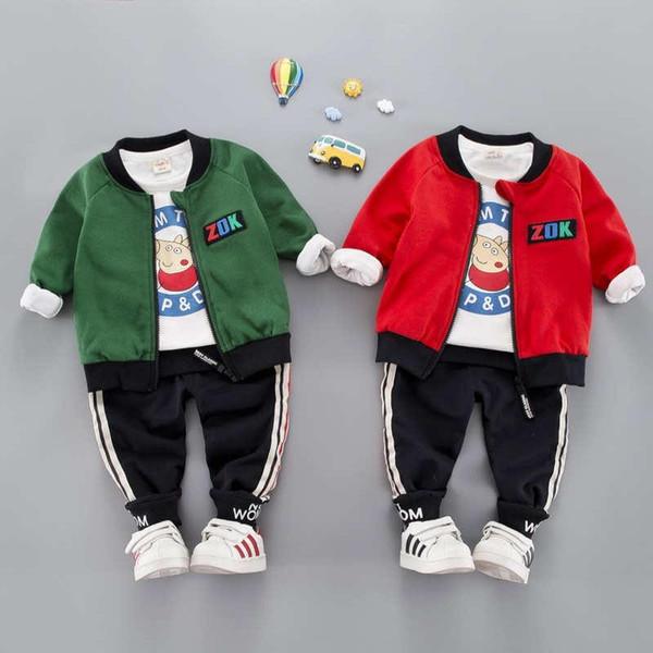 Kids Coat T-shirt Pant 3Pcs/sets 1-4T Children Sets 2 Colors Baby Boys Girls Flannel Kids Coat Pants Kids Sets Spring Winter F183210