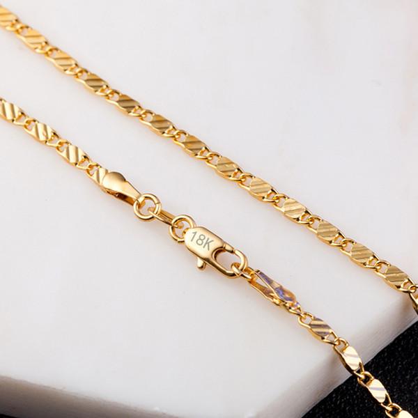 18 K Altın Fabrika Fiyat için Sparkly Altın Renk Kolye Zinciri DIY Takı Aksesuarları Erkek Kadın Takı Lüks Hediyeler 16-30 Inç
