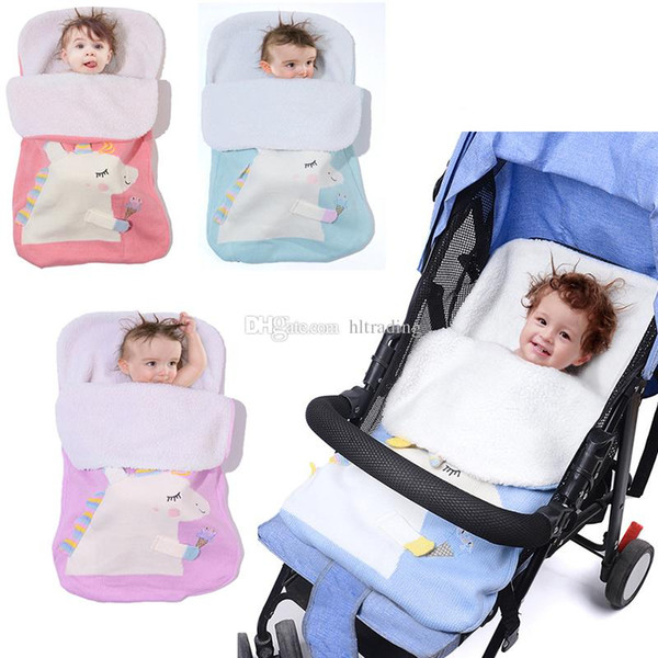 Baby Knitted unicorn Sleeping Bags Newborn Stroller sleeping bag Toddler autumn Winter Wraps Swaddling 4 colors infant bed sheet C5540