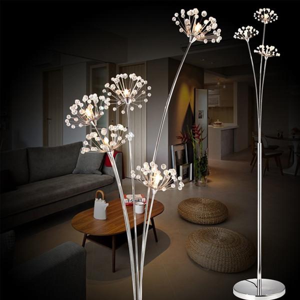 Modern Basit LED Zemin Lambası Oturma Odası Yatak Odası Kristal lamba Gelinlik Mağazası Zemin Çalışma Karahindiba Işık Ücretsiz Kargo