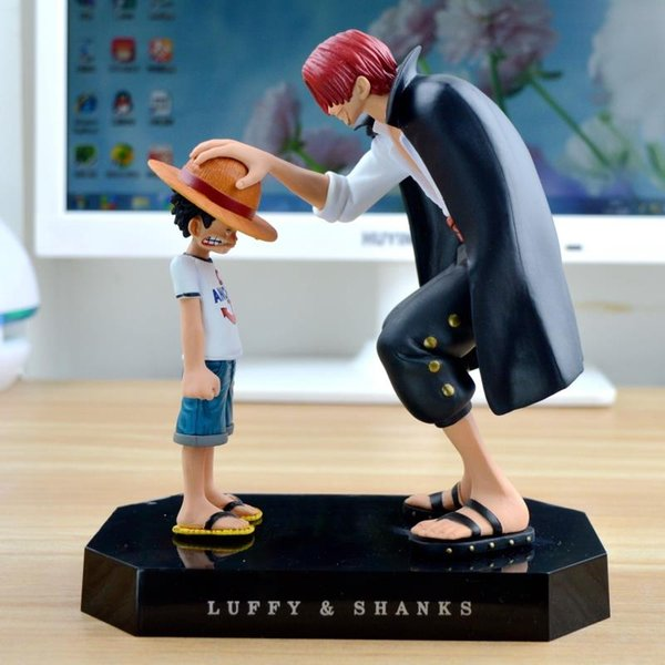One Piece Action Figures Anime Straw Hat Luffy Shanks Red Hair Ornaments Gift Doll Toys 17 .5cm Child Luffy Models Pvc Collection