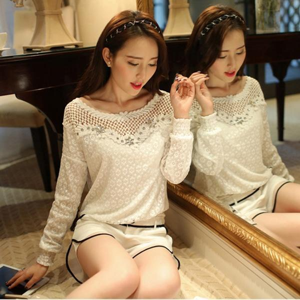 Sexy Ladies Loose Casual Long Sleeve Lace Cotton Pullover Shirt White Tops Blouse