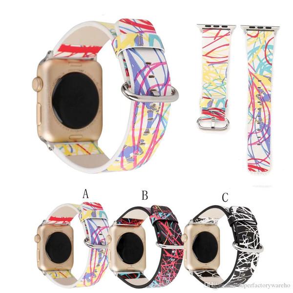 1PCS New watch strap Dream Space Fashion Genuine Leather Strap Iwatch Strap 38mm42mm