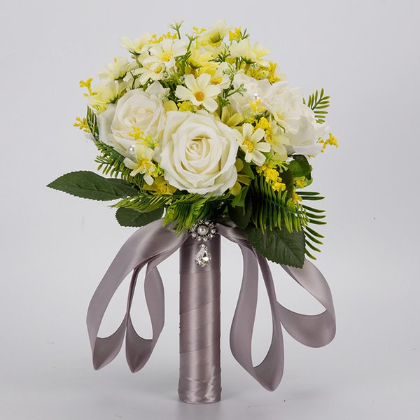 Cheap Pinterest Handmade Bridesmaid Wedding Decoration Flowers Rose Bridal Bridesmaid Wedding bouquet Romantic Wedding bouquet CPA1591