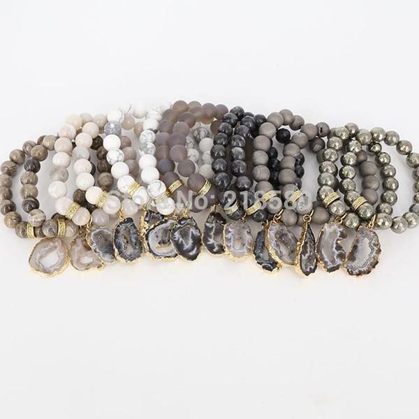 B16030205 Boho Chic Achate Geode Druzy Charm Anhänger Armbänder Gold Pave Rondelle Spacer Perlen Armband