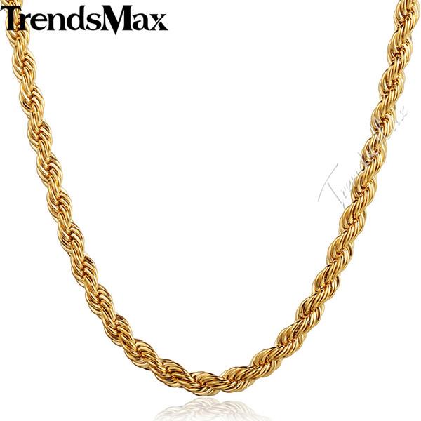 Trendsmax Женская Мужская Ожерелье Ювелирные Изделия Из Нержавеющей Стали Золото Зап