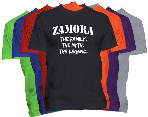 Zamora Cognome Nome Shirt Nome personalizzato Shirt Family Reunion Nome famiglia Tee Shirt Uomo Classic White Short Sleeve Custom Plus Size Couple
