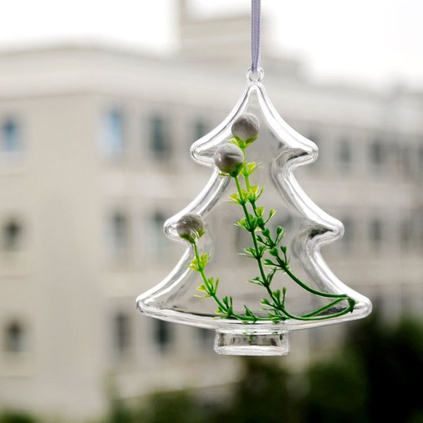 1 Pc Eternal Flower Preservation Container Transparent Plastic Christmas Tree Shape Ball Candy Box Home Hanging Decor P17