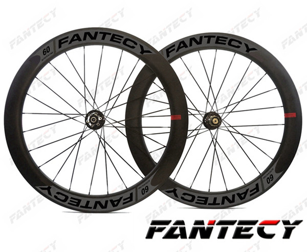 FANTECY road disc brake carbon wheels 700C 60mm depth 25mm width bike clincher/tubular Road Bicycle carbon wheels ,U-shape rim