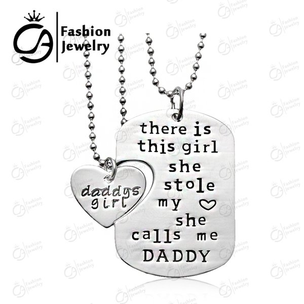 whole salePersonalized Hand stamped Daddy Daughter Necklace There is girl she calls me daddy father's day Gift Jewelry 20Set/Lot LN1079D
