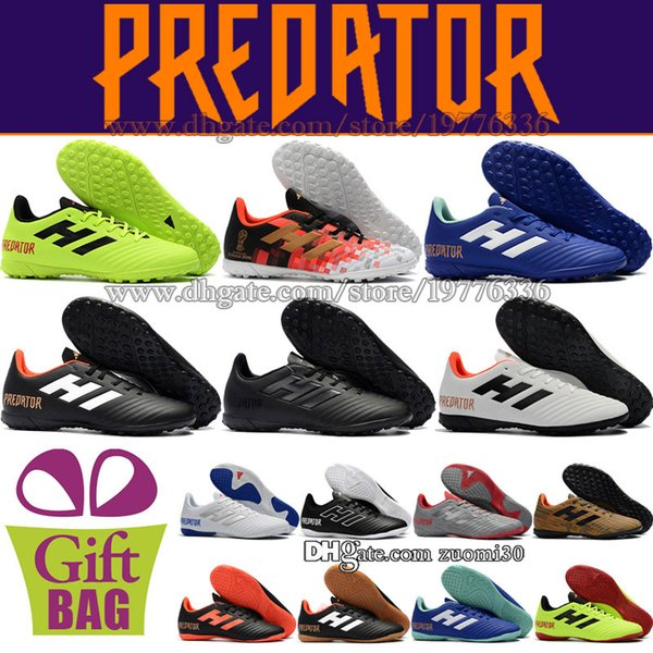 Original Mens Low Soccer Shoes Turf Predator Tango 18.4 IN TF Soccer Cleats Indoor Leather Football Boots Pink Orange Black Green Blue Red