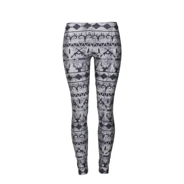 WHOOP Women Leggings 2 Color Elk 3D Printed Bow And Arrow Girl Pencil Fit Skinny Stretchy Yoga Pants Sport Elastic High Waist Trousers