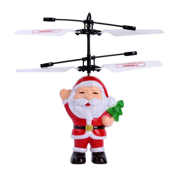 New Easy To Operate Helicopter Toy Santa Claus Induction Flight Mini Aircraft Hand Induction Smart Sensor Holiday Gift Children Toys