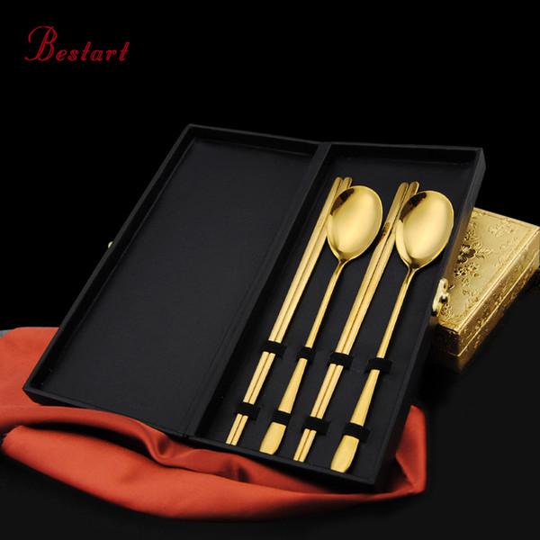 Luxus Sushi Essstäbchen Löffel Set mit Box Korean Gold Besteck Edelstahl Langgriff Küchenhelfer Schwarz Gold Silber