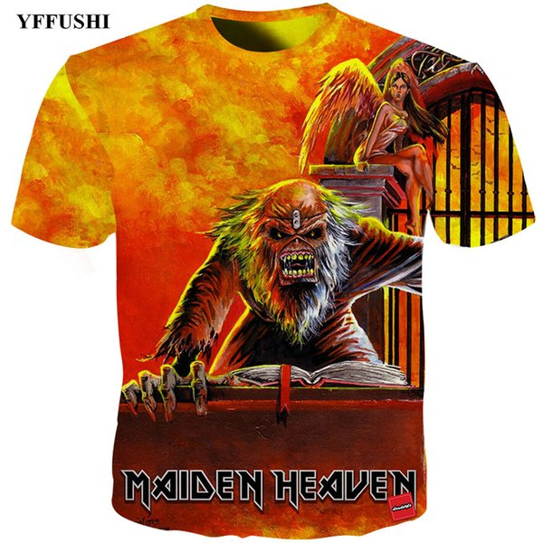 YFFUSHI 2018 Iron Maiden 3d t-shirt Crazy Iron Maiden Heavy Music Band Print Hip Hop Tee Summer Streatwear Men 3d Fire T shirt