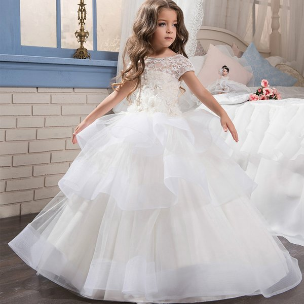 New Fashion Lovely Appliques Flower Girls Dresses for Weddings Floral Girls Pageant Dresses Baby Girl Birthday First Communion Gown