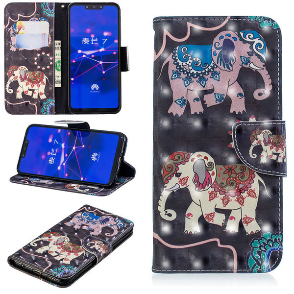For HuaWei Mate 20 Lite 3D Cartoon Leather Wallet Case Stand Design Magnetic Clasp Phone Bag Cover 10 Colors 20pcs Per Lot B012