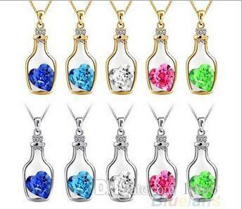 Luxury Jewelry Silver Color with Wish Bottle Inlay Love Heart Crystals Vial Pendant Necklace for Women Gift BS68