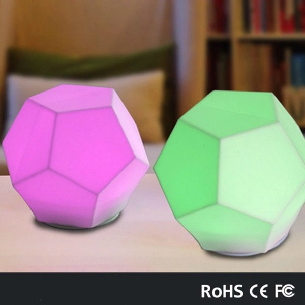 cartoon silicone baby LED night light children toy lights bedside night lamp gifts for kids 7 colors changing Diamond shape night light