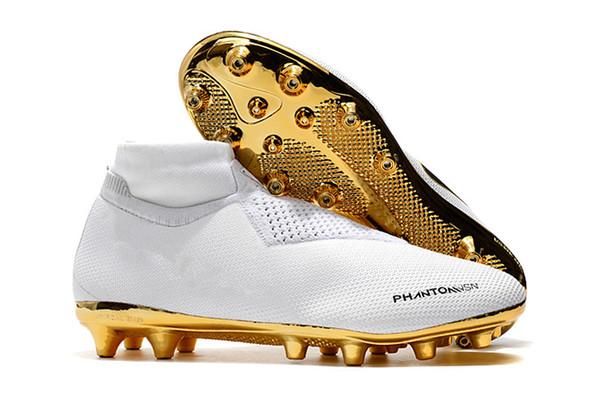 En kaliteli 2018 yeni futbol cleats Phantom VSN Elite DF AG beyaz altın Yüksek Futbol Ayakkabıları toplam altı renk boyutu ...