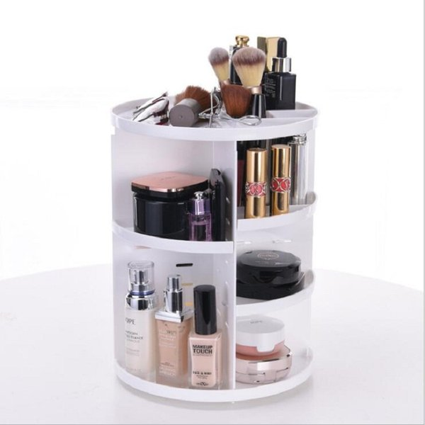 Fashion 360-degree Rotating Makeup Organizer Storage Box Brush Holder Jewelry Organizer Case Jewelry Makeup Cosmetic