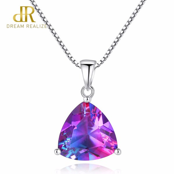 DR Triangle Oval Rainbow Fire Mystic Topaz Pendant Necklace 925 Sterling Silver Jewelry for Women Anniversary Party Gift Y18102910