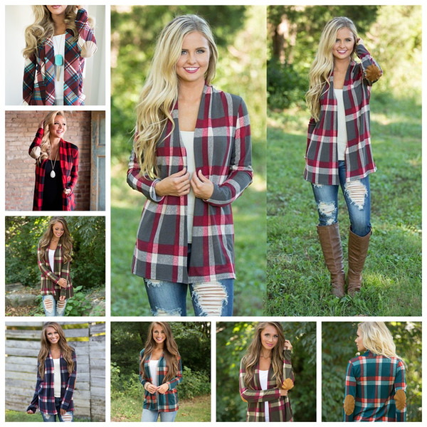 best selling Plaid Cardigans Women Autumn Irregular Printed Front Open Loose Coat Long Sleeve Patchwork Sweater Outwear Jackets Plaid coat GGA1019