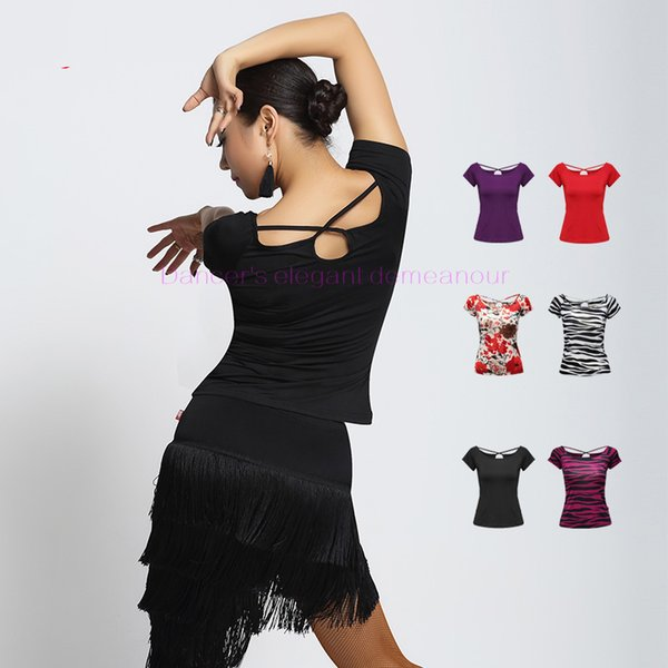 SEXY! milk silk latin dance costumes senior short sleeves latin dance top for women exercise jackets S-XXL 1078