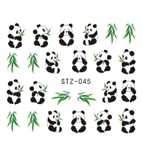 1sheets Pretty Animal Panda mit Bambus Cute Nail Sticker Wassertransfer Französisch Tipps Wraps Decals auf Nägel Dekorationen STZ045