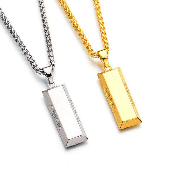 Brand designer hip hop bar necklace jewelry fashion women mens slides golden bar pendant necklace silver gold chain long necklace